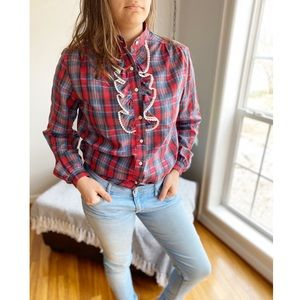 Vintage Plaid Ruffled Rockabilly Button Down Top